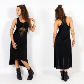 "\""Geometric Dragonfly\"" asymmetric dress, Black and gold"