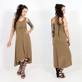"\""Geometric Dragonfly\\\"" asymmetric dress, Brown and black"