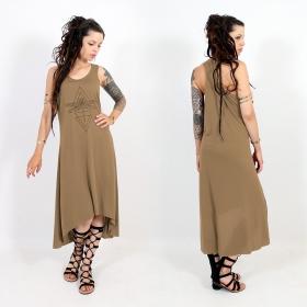 "\\\""Geometric Dragonfly\\\"" asymmetric dress, Brown and black"