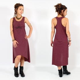 "\""Geometric Dragonfly\\\"" asymmetric dress, Mottled wine and black"