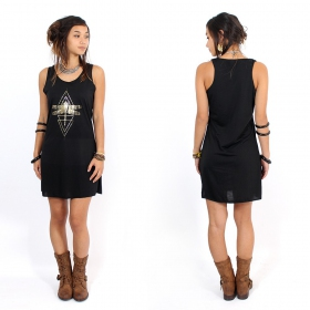 "\""Geometric Dragonfly\\\"" dress, Black and gold"