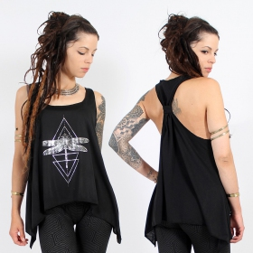 "\""Geometric Dragonfly\\\"" knotted tank top, Black and silver"
