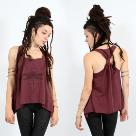 "\""Geometric Dragonfly\\\"" knotted tank top, Mottled wine and black"