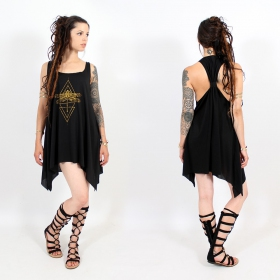 "\""Geometric Dragonfly\\\"" knotted tunic, Black and gold"
