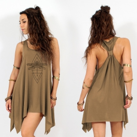 "\""Geometric Dragonfly\\\"" knotted tunic, Brown and black"