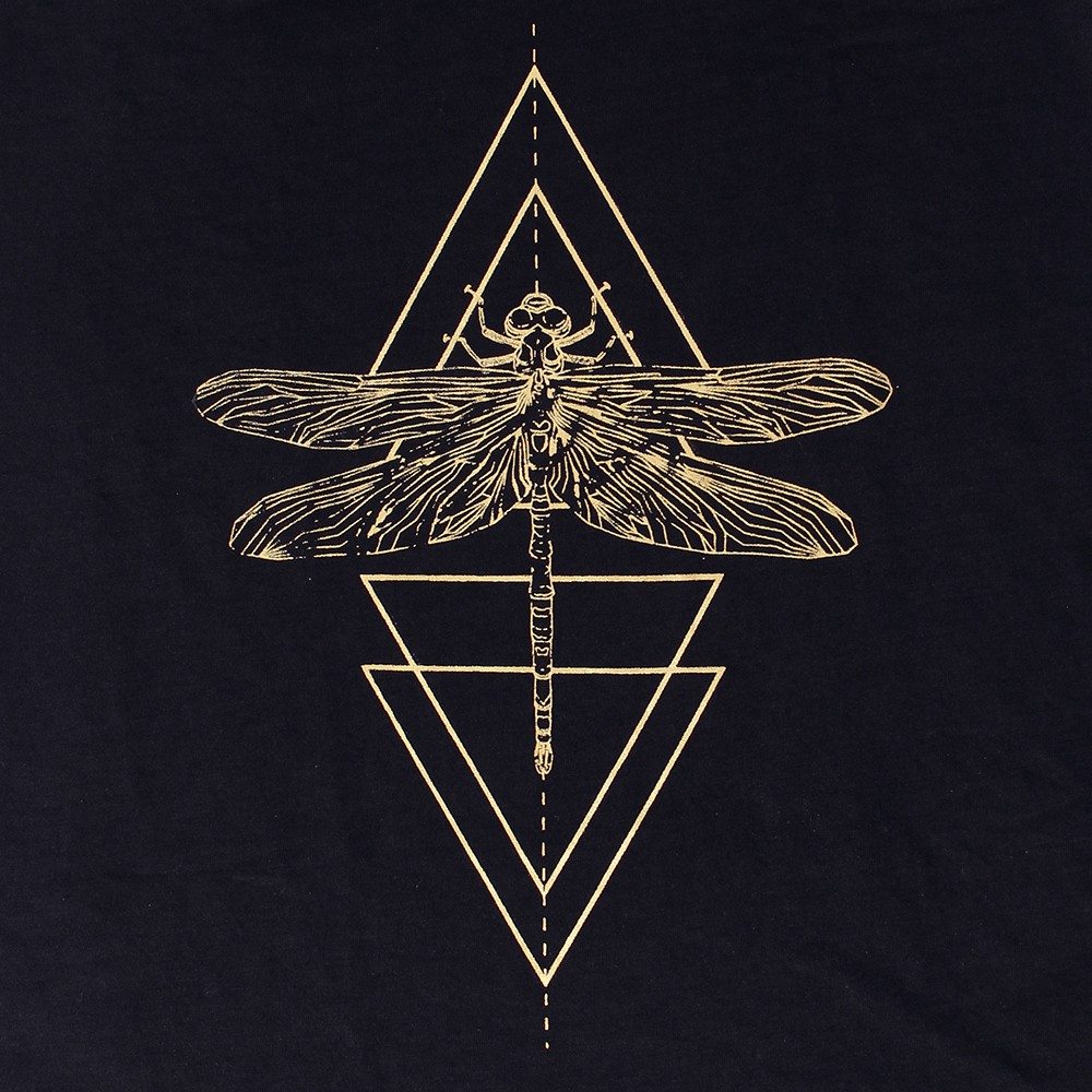 """Geometric Dragonfly\"" tank top, Black and gold"