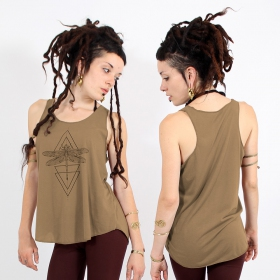 "\""Geometric Dragonfly\\\"" tank top, Brown and black"