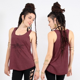 "\""Geometric Dragonfly\\\"" tank top, Mottled wine and black"