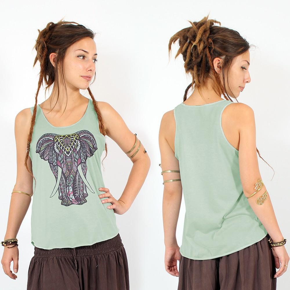 "\\\""Geometric elephant\\\"" tank top, Light green"