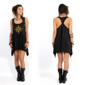 """Geometric leaves\"" knotted tunic, Black and gold"