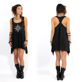 """Geometric leaves\"" knotted tunic, Black and silver"