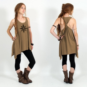 """Geometric leaves\"" knotted tunic, Brown and black"