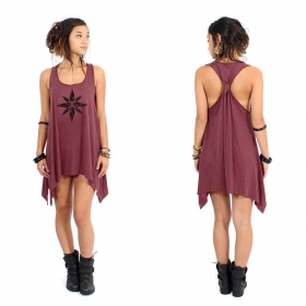 """Geometric leaves\"" knotted tunic, Mottled wine and black"