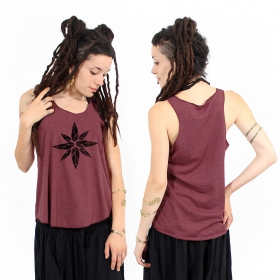 """Geometric leaves\"" tank top, Mottled wine and black"