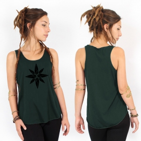 """Geometric leaves\"" tank top, Teal and black"