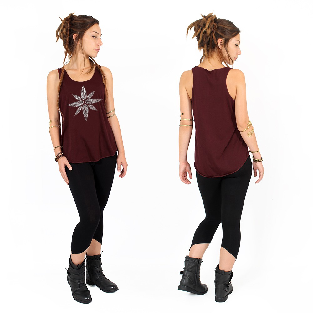 """Geometric leaves\"" tank top, Wine and silver"