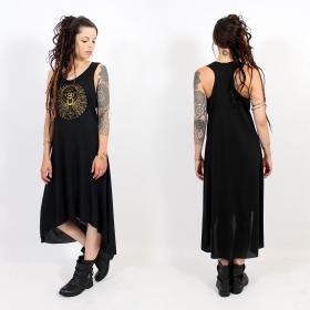 "\\\""Geometric Scarab\\\"" asymmetric dress, Black and gold"