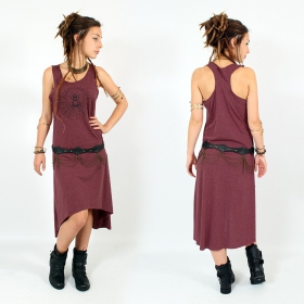 "\""Geometric Scarab\\\"" asymmetric dress, Mottled wine and black"