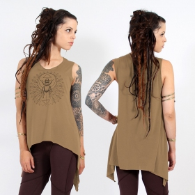 "\""Geometric Scarab\\\"" asymmetric top, Brown and black"