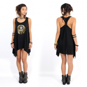 "\""Geometric Scarab\\\"" knotted tunic, Black and gold"