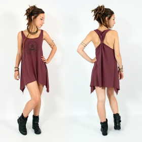 "\""Geometric Scarab\\\"" knotted tunic, Mottled wine and black"