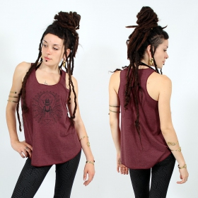 "\""Geometric Scarab\\\"" tank top, Mottled wine and black"