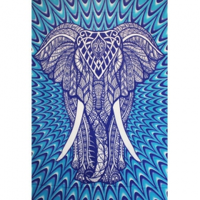 """Geometrical Elephant\"" hanging, Psyche blue"
