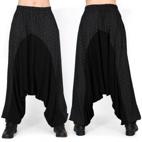 "\""Ginie Kikko\"" light harem pants, Black with grey prints"