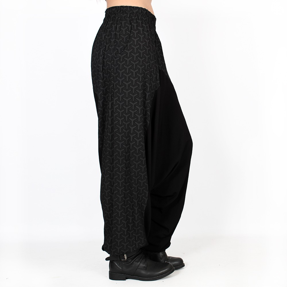"""Ginie Kikko\"" light harem pants, Black with grey prints"