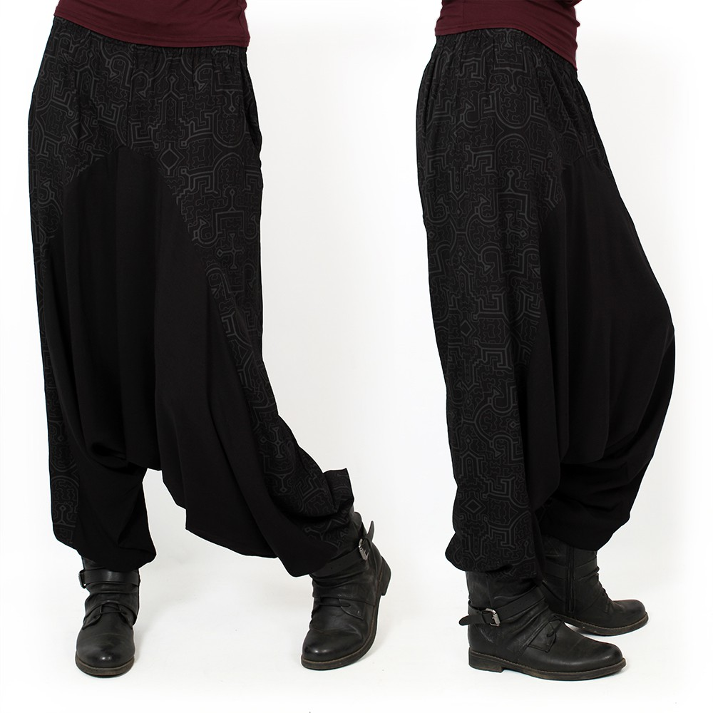 """Ginie Shipibo\"" light harem pants, Black with grey prints"