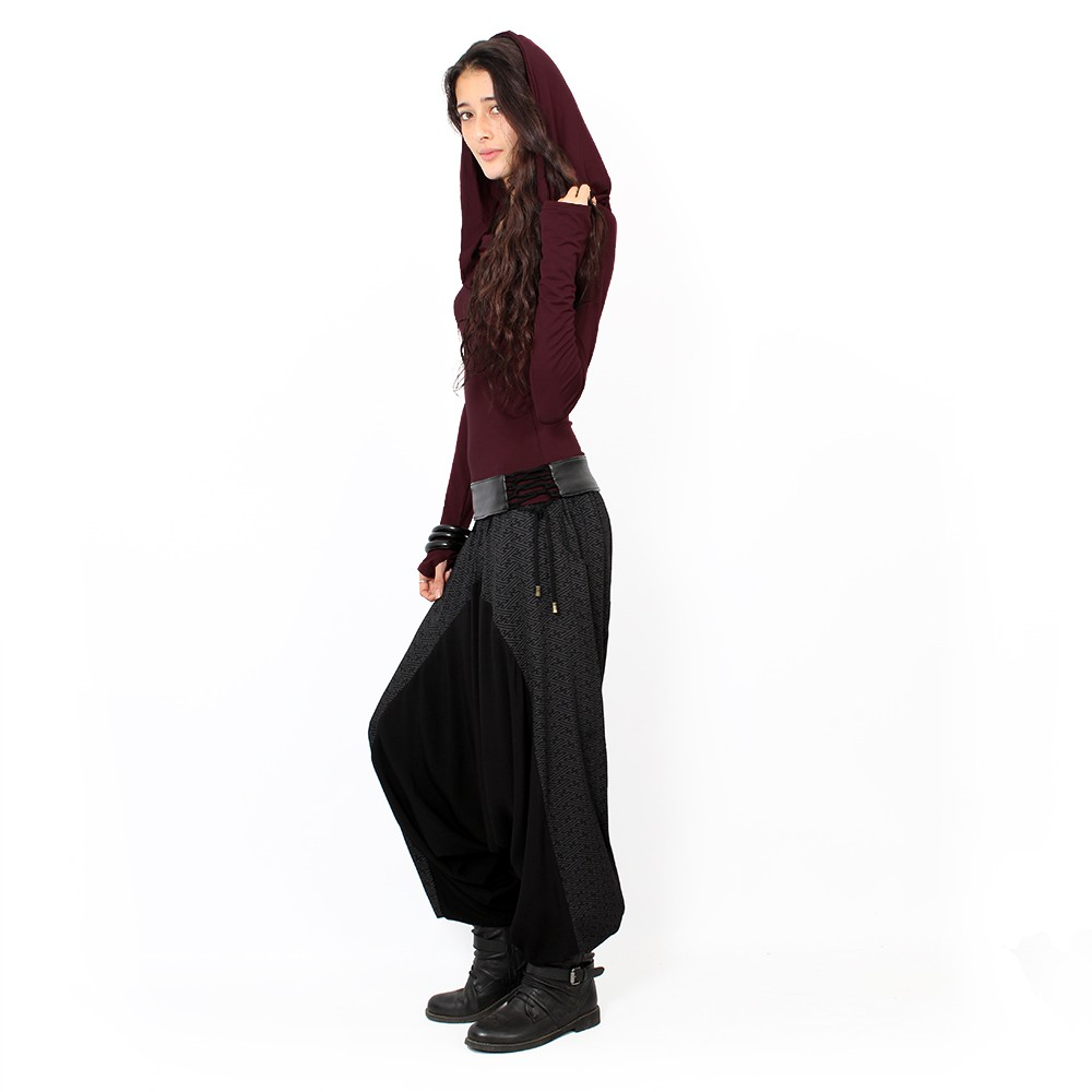 """Ginie Swastika\"" light harem pants, Black with grey prints"