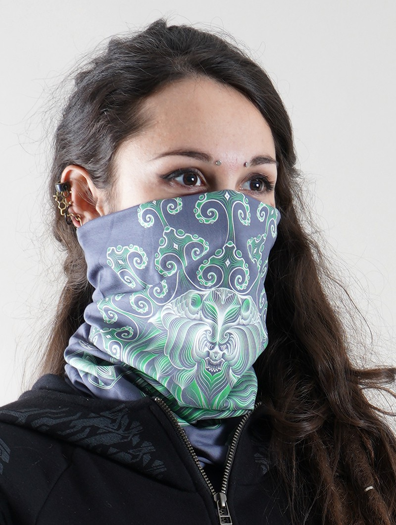 """Gulgalta\"" face mask / neck warmer, Phosphorescent details"