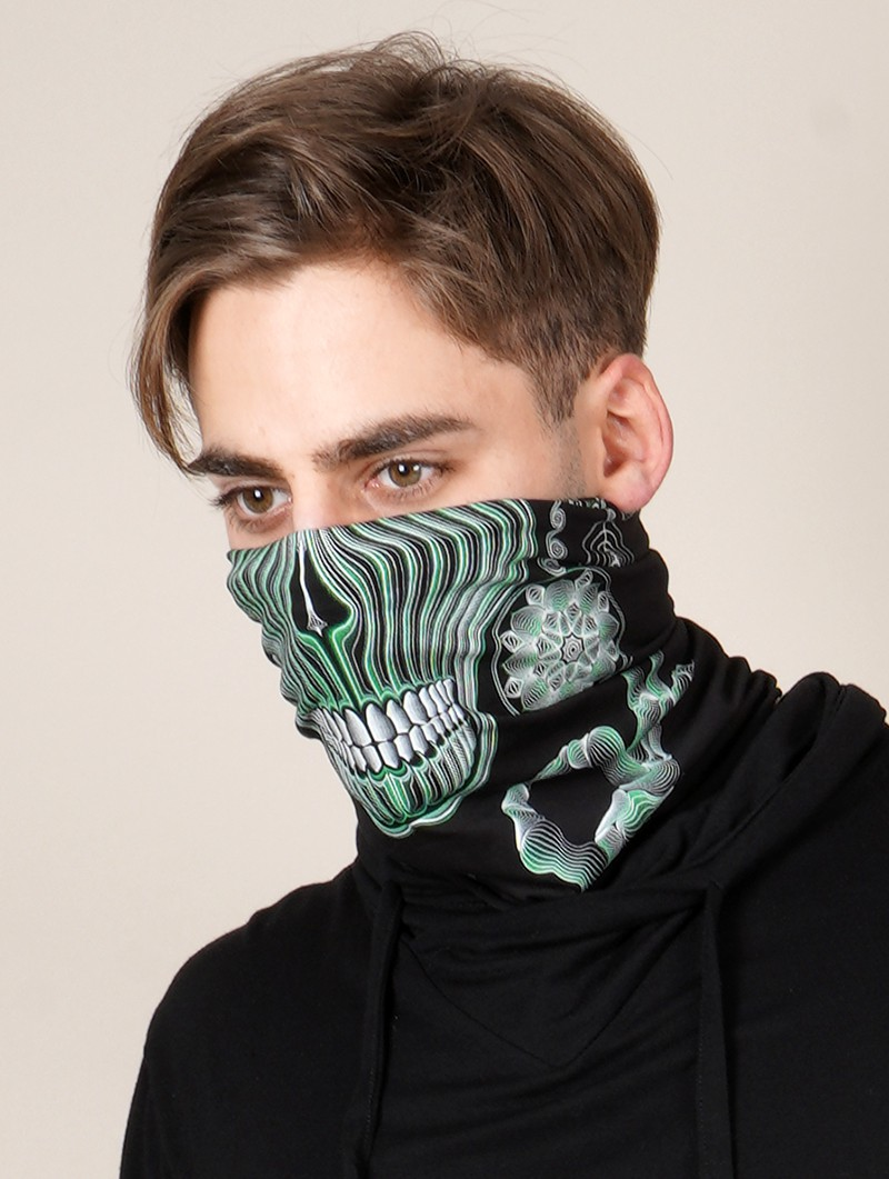 """Gulgalta\"" Gender neutral face mask / neck warmer, Phosphorescent details"