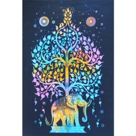 "Hanging \""Elephant\\\"", Blue purple 1,40m x 2,20m"