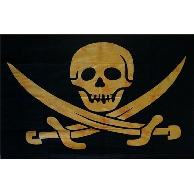 """Hanging \\\""""skull pirate\\\"""" yellow 1,40 x 2,20 m"""