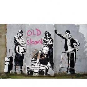 """Hanging/tarpaulin \\\""""old skool\\\"""" by banksy"""