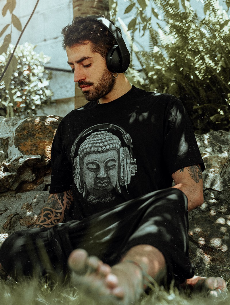"\""Headphone birds\"" t-shirt, Black"