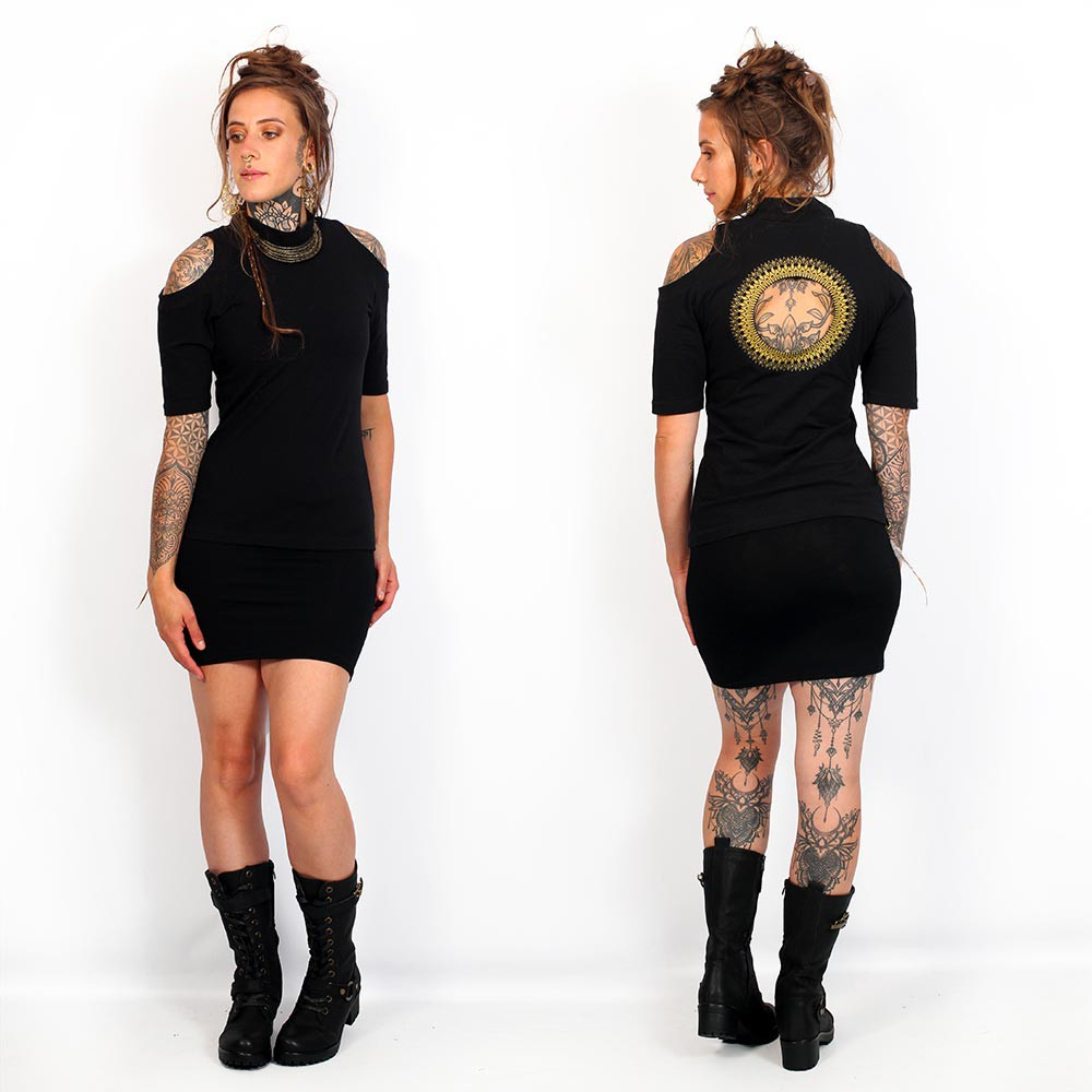 """Helios\"" top, Black and gold"