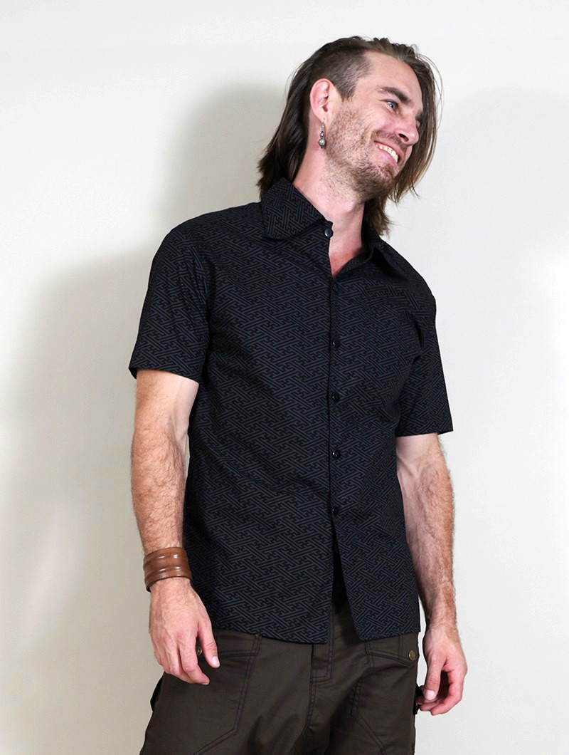 """Helios Swastika\"" short sleeves shirt, Black"