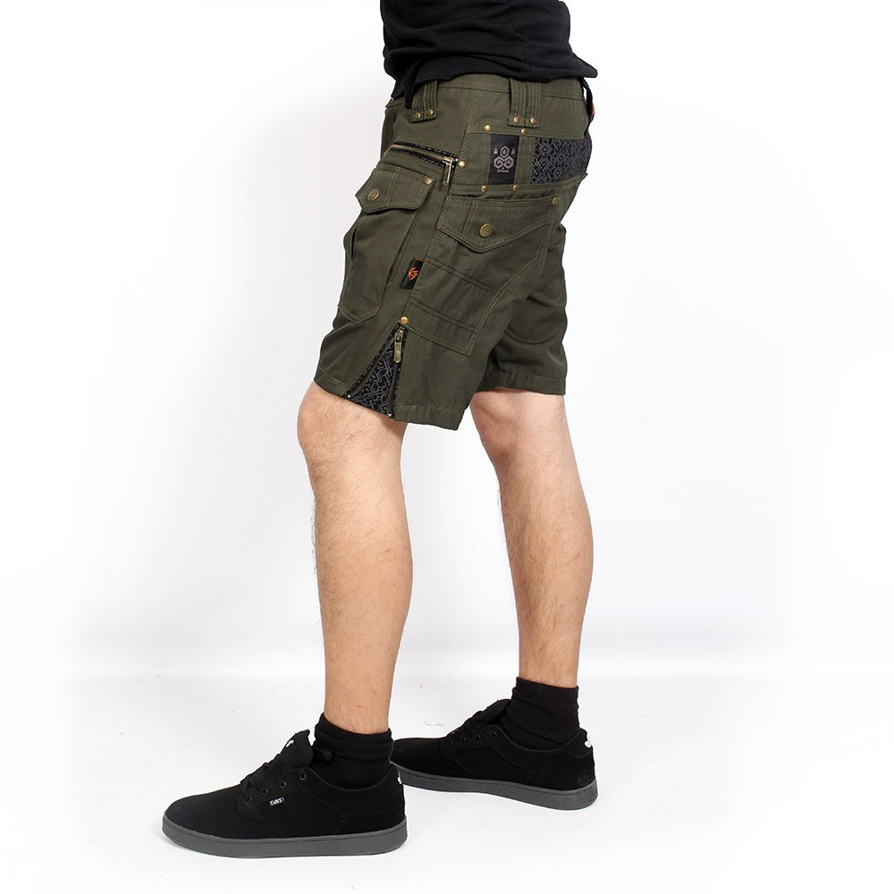 "\""Hexa\"" shorts, Dark khaki green"