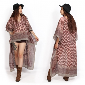 """Hilow Anokhi\"" kaftan tunic, Beige and red"