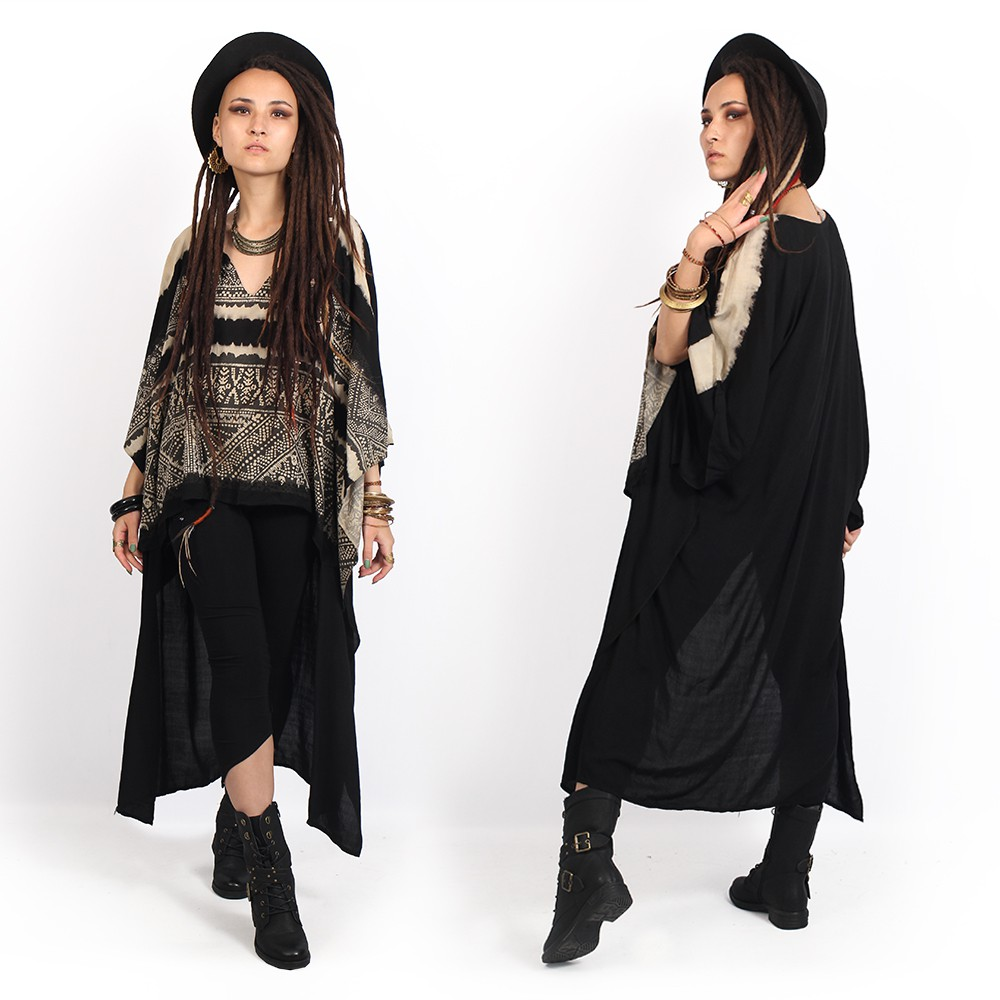 """Hilow Lap Lae\"" kaftan tunic, Black"
