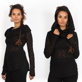 """Hookäa\"" crochet sweater, Black"