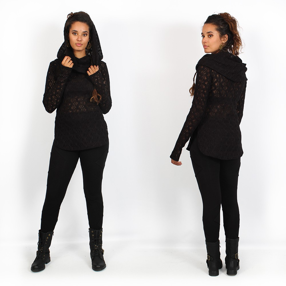 "\""Hookäa\"" crochet sweater, Black"