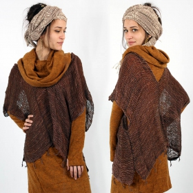 """Ikoo\"" poncho, Dark brown"
