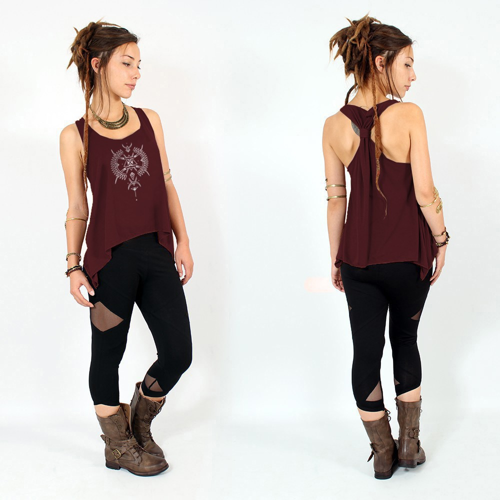 """Ilanga\"" knotted tank top, Wine and silver"