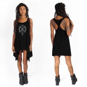 """Ilanga\"" knotted tunic, Black and silver"