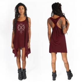 """Ilanga\"" knotted tunic, Wine and silver"