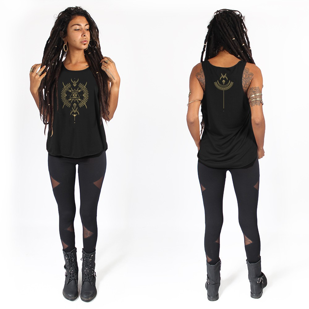 """Ilanga\"" tank top, Black and gold"
