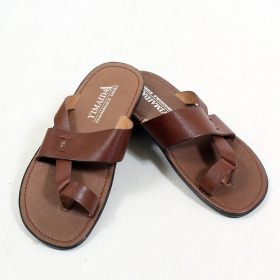 "Imitation leather flip-flops \""Prajun\"", Dark brown"